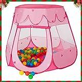 MC Star Pieghevole per Bambini Tenda Pop-up Parco Giochi per Bambini Giocattoli Casa e Piscina Interno & Esterno con 100 Palla Marina (Rosa, Blu)