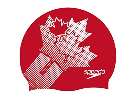 SPEEDO Badekappe Flat Silicon Cap, canada flag,One Size (Speedo Flag)