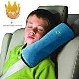 Indexp Baby Kids Soft Headrest Sleeping Cushion Safety Strap Seatbelt Harness Head Neck Shoulder Protection Pad Pillow (Blue)