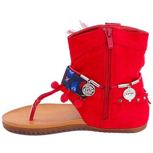 Toocool - Stivali indianini donna camoscio infradito frange piume monete gladiatore LY7300 Rosso