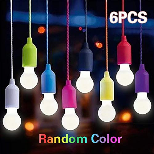 Pull Light mit Zugschalter, Tragbare 6 Stück LED Leuchte weiß Colors Glühbirnen für Party, Weihnachten, Garten, Wandern, Angeln, Camping, als dekorative Lampe Batteriebetrieben (Zufällige Farbe)