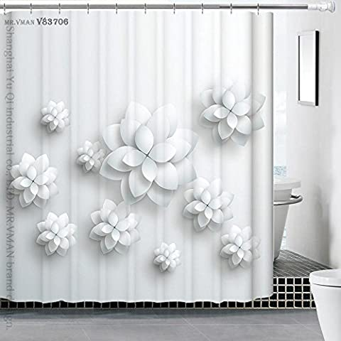 QEWA® Shower Curtains Curtain Polyester 3D Hand Painted Dimensional Waterproof