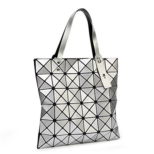 Tanling Sourcingmap Damen Geometrie Bao Tote Schimmernde Handtasche Laser Diamant Gitter Shopper Falttasche Schultertasche, Damen, Silber