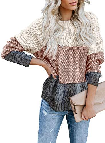 FIYOTE Damen Strickpullover Farbblock Pullover Casual Winter Sweater Sweatshirt Winter Bluse Streifenpullover