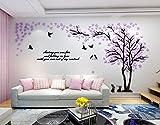 Alicemall 3D Wandtattoo Shrinkable Acryl Wandaufkleber Wand Dekoration TV Sofa Hintergrund Deko Stereo Sticker Lila Blätter - Muster 2