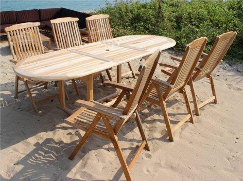 XXS® Möbel Gartenmöbel Set Aruba XL/7tlg sechs praktische Klappstühle Aruba verstellbar Tisch Aruba ausziehbar mit Schirmloch in der Mitte hochwertiges Teak Holz pflegeleicht