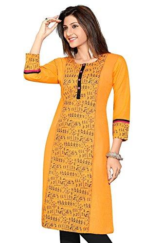 Ashwati Women's Cotton Yellow Kurta (Ash-91_XXL)