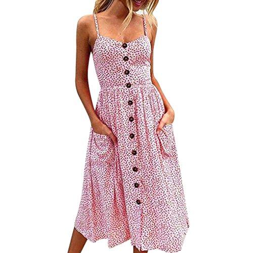 Kolylong Kleid Damen Frauen Elegant V-Ausschnitt Ärmelloses Blumenkleid Sommer Vintage Rückenfreies Lang Kleid Boho Kleid Maxikleid A-Linie Strandkleid Partykleid Abendkleid (Pink, L)