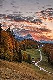 Poster 61 x 91 cm: Sonnenuntergang über der Zugspitze,