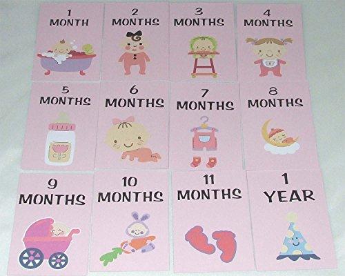 Baby Girl Milestone Karten Monate 1–11& 1Jahr Baby Dusche Geschenke