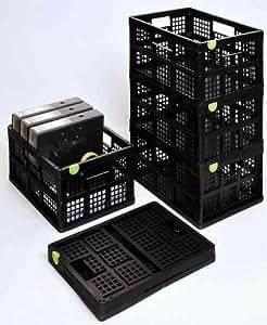 REALLY USE BOX Casier de rangement Recyclé pliable 32 L L480 x P390 X H210 mm Fond plein Noir