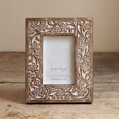 Paper High Fair Trade Bilderrahmen weiße Farbe mit Antik-Effekt (4 x 6) - Antik-look Holz Geschnitzt