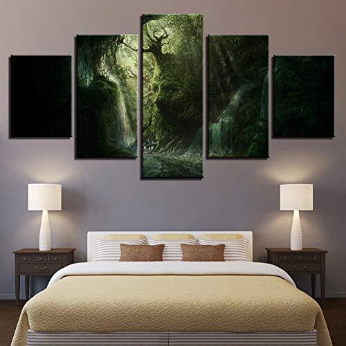 WOKCL Leinwanddruck Kunst Modular HD Gedruckt 5 Stücke Abstrakte Gesichtsform Baum Landschaft Leinwand Bild Wohnzimmer Wanddekoration