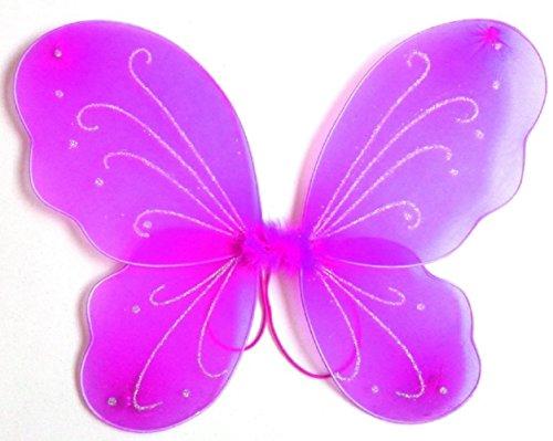 3-7 anni - accessorio per costume - travestimento - carnevale - halloween - teatro - ali di farfalla - fata - fuxia - bambina