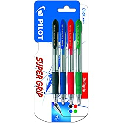 Pilot Spain Super Grip - Pack de 4 bolígrafos, punto medio, multicolor