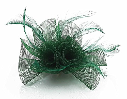 LeahWard Damenmode Feather & Mesh Blumendruck Fascinator on Clip Damen Qualität modisch Clip CWH00152 Grün