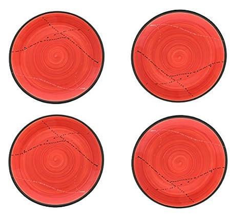 Set 4Pcs Keramik Essgeschirr, handgefertigt rund Main Küche–rot 26,9cm (27cm) (Essgeschirr Platter)