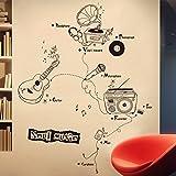 Hongrun Les instruments de musique créative mural classe décorations personnalisées formation guitare bar ktv shop-window glass art 150*105cm