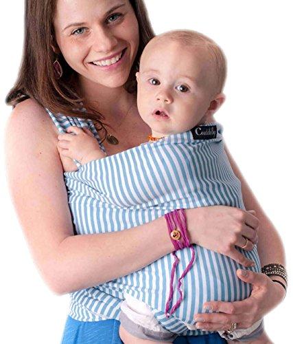 Babytragetuch - CuddleBug Babytrage - mit Gratisversand - Baby Carrier Sling - tragetuch baby (blauer Streifen) (Blue Halo Ringe)