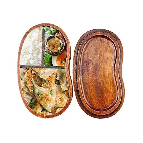 Alian Brotdose Lunchbox mit Trennwand Kinder Erwachsene Bento Box Japanische Style Holz Food Box Mittagessen Container Aufbewahrungsbehälter für Kindergarten,Schule,Küche,Büro,Picknick
