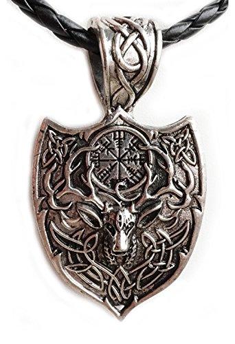 Anhänger / Amulett Krafttier Hirsch inkl. Kette lang, Mythen / Sagen / Symbolschmuck / Schamane / Jagd / Reh / Damwild