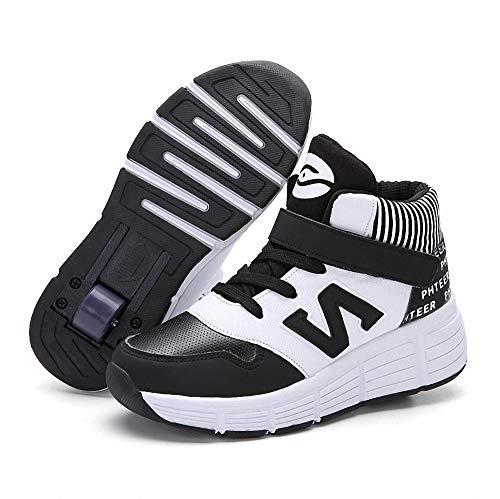 Miarui Sneakers mit Rollen Mädchen Junge Mode Rollenschuhe Rollen Schuhe Unisex-Kinder Skateboard Schuhe Skateboard Schuhe Sportschuhe Laufschuhe mit Automatisch Verstellbares Räder,3,36