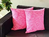 Set von 2Baumwolle Kissen Hand Woven Gerippte Überwurf Kissen Fall Home Sofa Deko (48,3x 48,3cm), baumwolle, rose, 19 x 19
