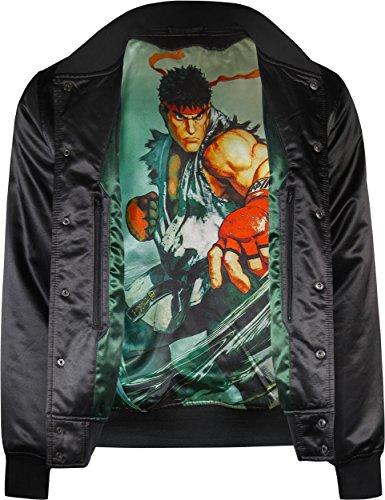 Musterbrand-Street-Fighter-Collegejacke-Herren-Ryu-Gaming-Bekleidung-Schwarz