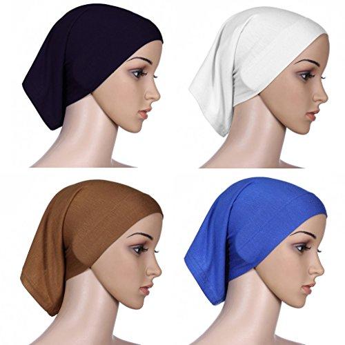 GladThink 4 X Musulman Mini Inner Hijab Caps Femmes B+W+Bleu+Chameau