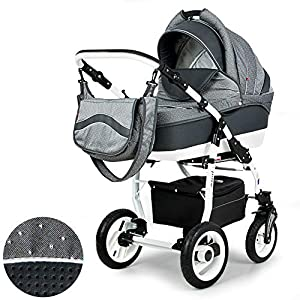 Lux4Kids Pram Stroller 3in1 2in1 Isofix Colour Selection Buggy Car seat Mar Grey White P12 4in1 car seat +Isofix   14
