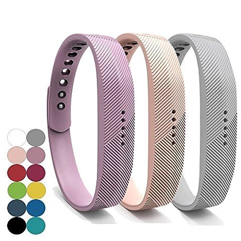 Fitbit Flex 2 Bracelet,YEFOD 3pcs/Set Silicone Sport Remplacement Accessoire Bande
