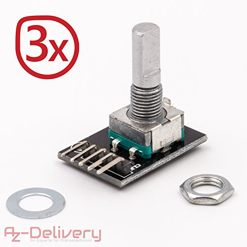 Push-button-modul (AZDelivery 3er Set KY-040 Drehwinkelgeber Drehgeber Rotary Encoder Modul für Arduino)