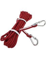 Docooler 10.5mm*10m Abseilen Seil Außen Safety Professional Klettern Seil Schnur Caving Abseilen Überleben Auxiliary Cord Kletterausrüstung mit Karabiner