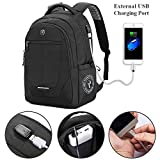 Laptop Backpack, Large Business Bags with USB Charging Port, Water Resistant College School Rucksack Travel Daypacks Fits up to 15.6-17.3 Inch Laptop and Notebook (Black)