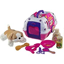 Vet Kit de jeu, pet chiot Transporteur, doux, chien en peluche et jouets de toilettage