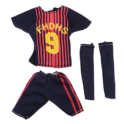 (Homyl 4pcs/Set Puppen Fussball Uniform Sportskleidung für 32 cm Barbie Ken Puppen Outfit - # 4 Schwarz)