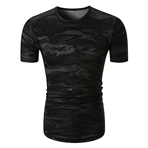 ops Persönlichkeit Männer Tarnen Slim Kurzarm bedrucktes Hemd Bluse ()