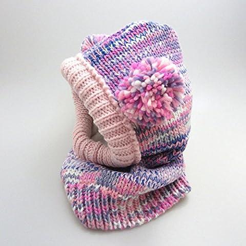 Bambini svegli viola rossi maglia lana sciarpa cappello caldo autunno e in inverno un cappello sciarpa Infinity per Gril , red purple 3-6 years old