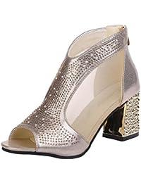 Sallydream Zapatos de Mujer Bloque de TacóN Alto Plataformas Vendaje de Hebilla Tacones Altos