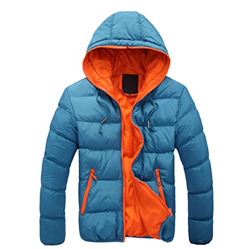 Haodasi Confort En vrac Encapuchonné Svelte Des sports Coat Sous-Vêtement Sky Blue w/Orange