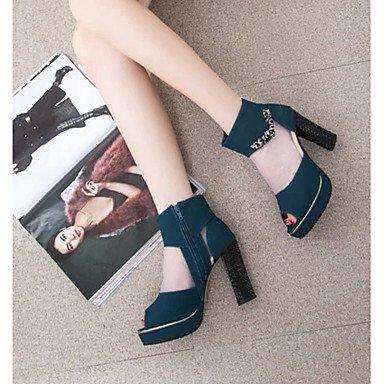 LFNLYX Donna Sandali Primavera Estate altri PU Casual Chunky Heel Zipper Nero Blu Black