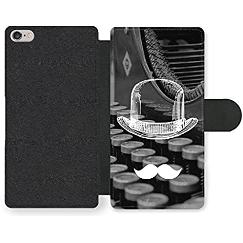 Cool Funny Cute Moustache Bowler Hat Typewriter Funda Cuero Sintético para iPhone 6 6S