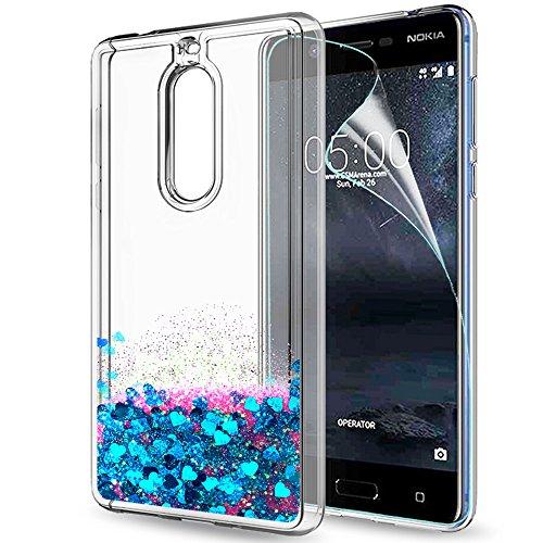 Nokia 5 Hülle Glitzer , LeYi süße Frauen Mädchen Flüssig Bewegende Treibsand Transparent Dual Slim Dünn TPU Silikon Handyhülle mit HD-Schutzfolie für Nokia 5 Case Cover ZX Blue (Handy-fall Moshi)