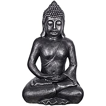 buddha b4001 antiksilber f r innen und au en buddha figur xxl 64cm hoch buddha statue. Black Bedroom Furniture Sets. Home Design Ideas