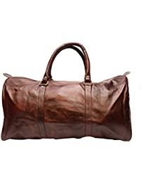 Poshaque Pure Leather Duffle Bag - Small (Brown)