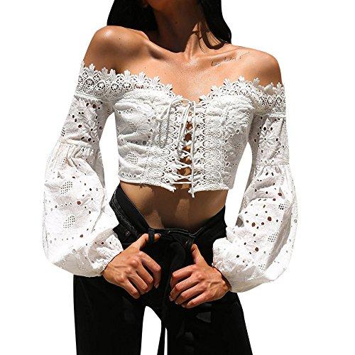 Separación!SHOBDW Mujeres de la Moda Fuera del Hombro Manga Larga Sexy Linterna Manga Hueco Cuello Slash de Encaje Blusa Suelta Tops Camiseta (S, Blanco)