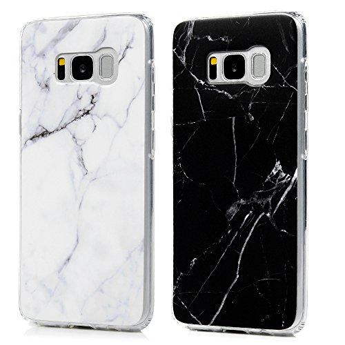 S8 +, S8 plus Scrub Marmor Handyhülle, KASOS Marble Hülle Silikon Case Weich TPU Huelle mit IMD Technologie für Samsung Galaxy S8 +, S8 plus, Schwarz + grau weiß