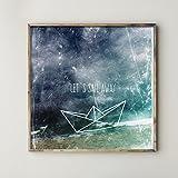 Poster: let´s sail away - Papierboot, dark blue sea