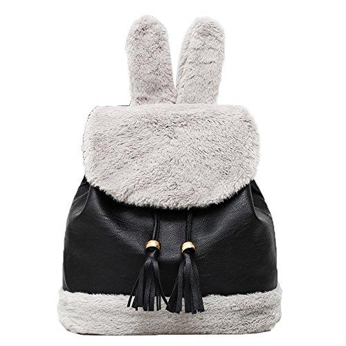 HCFKJ Tasche, Frauen Hairy Backpacks Schultasche Student Plüsch Rucksack Mädchen Cute Rucksäcke (BK)