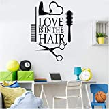 Amore Hair Stylist Sticker Decal Asciugatrice Forbici Salon Sign Window Motorcycles Bumper Porta Vinyl Decal Asciugacapelli